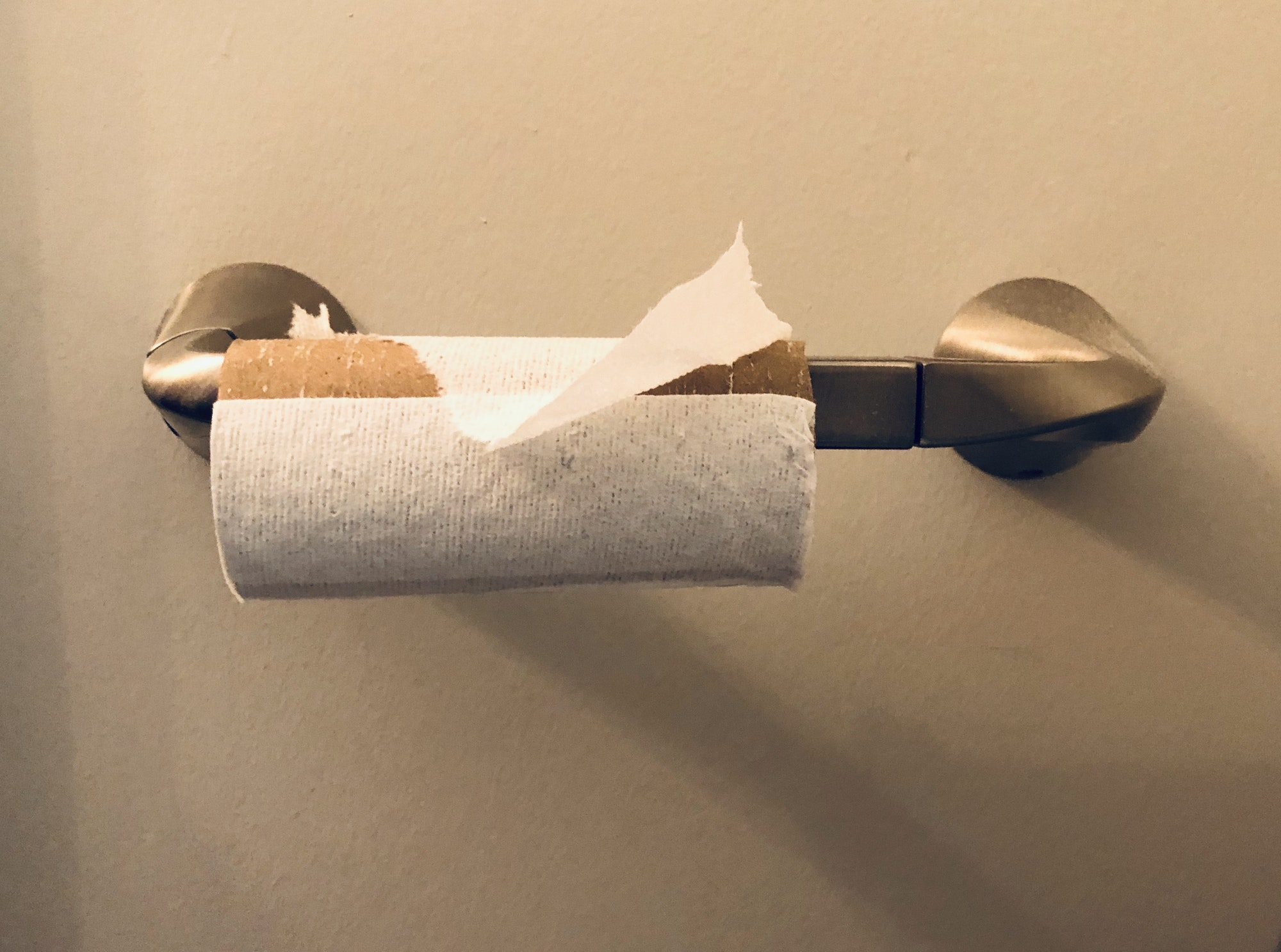 Almost finished empty toilet paper roll